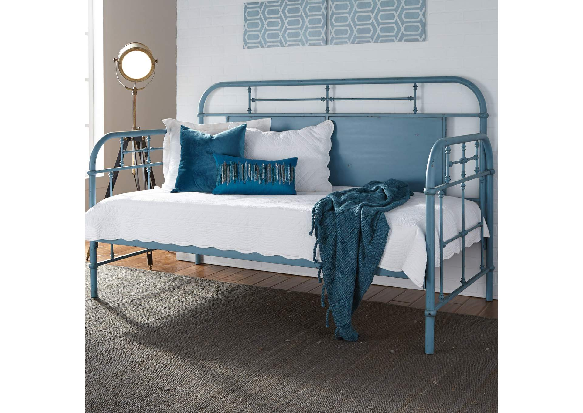 Vintage Series Distressed Metal Twin Metal Day Bed - Blue,Liberty