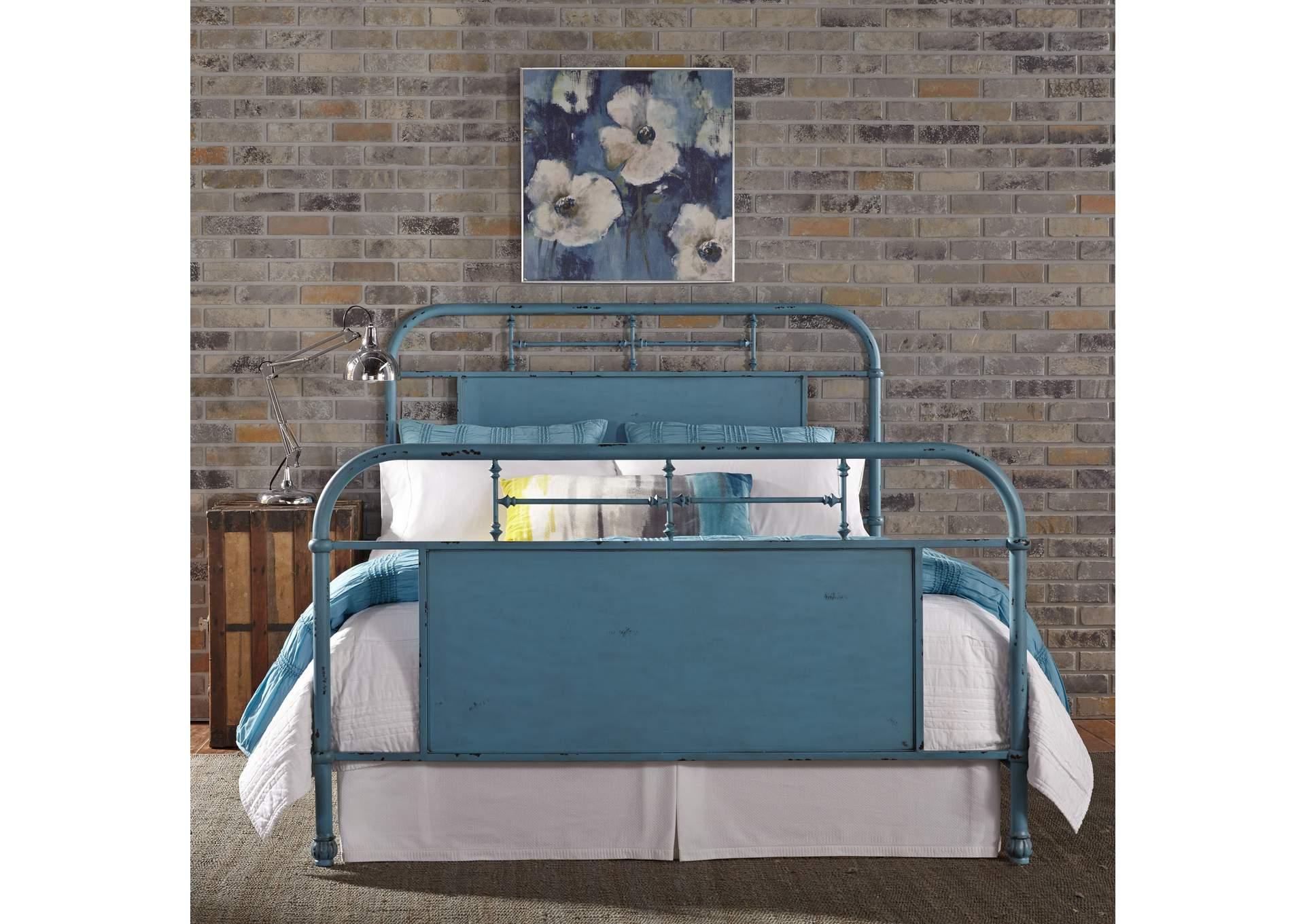 Vintage Series Distressed Metal King Metal Bed Blue Rhynes Rhodes Furniture