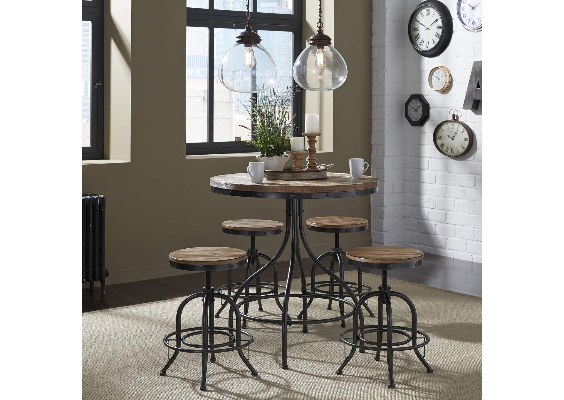 Vintage Series Distressed Metal Pub Table,Liberty