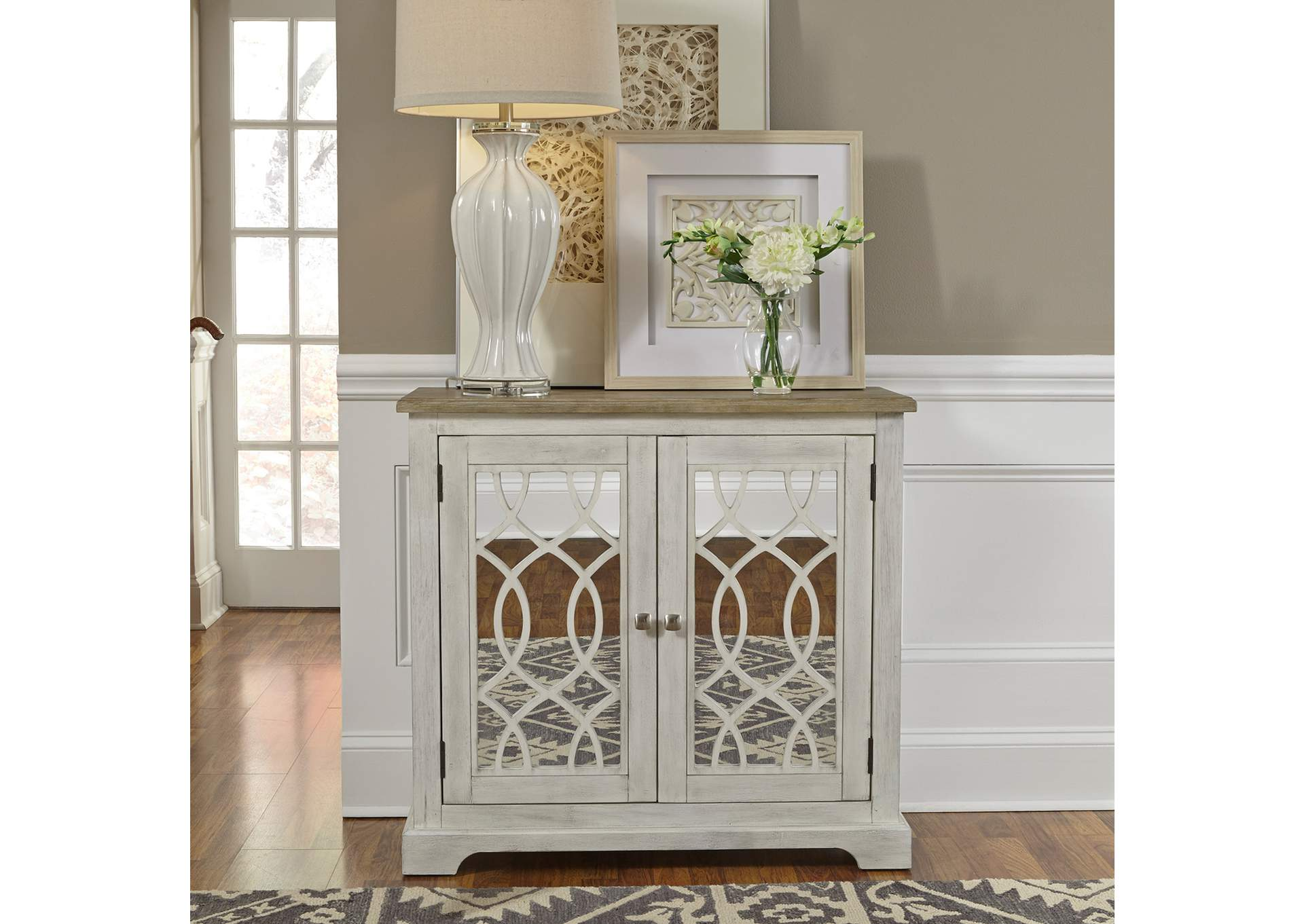 Emory Antique White 2 Door Mirrored Accent Cabinet Red Barn Furniture Outlet