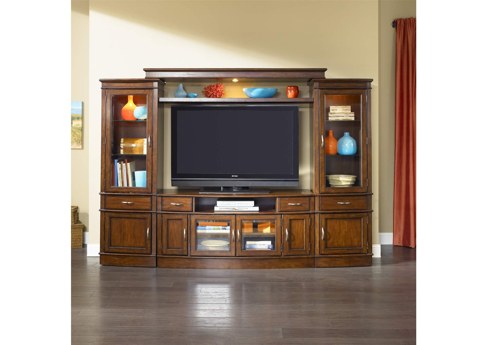 Hanover Cherry Spice Entertainment Center with Piers,Liberty