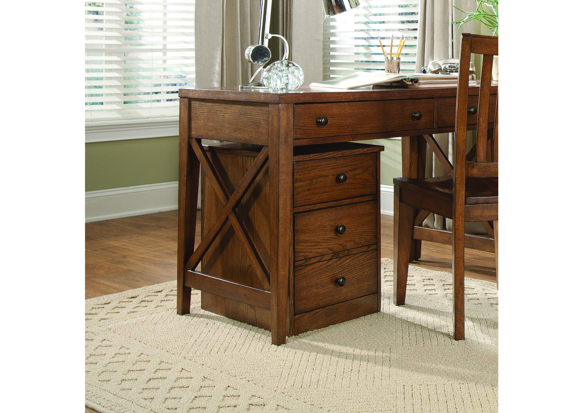 Hearthstone Ridge Rustic Oak Mobile File Cabinet,Liberty