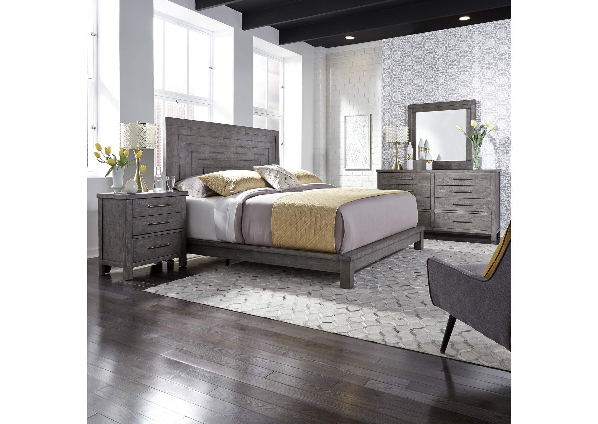Modern Farmhouse Dusty Charcoal Queen Platform Bed Dresser Mirror Night Stand Roberts Furniture Mattress