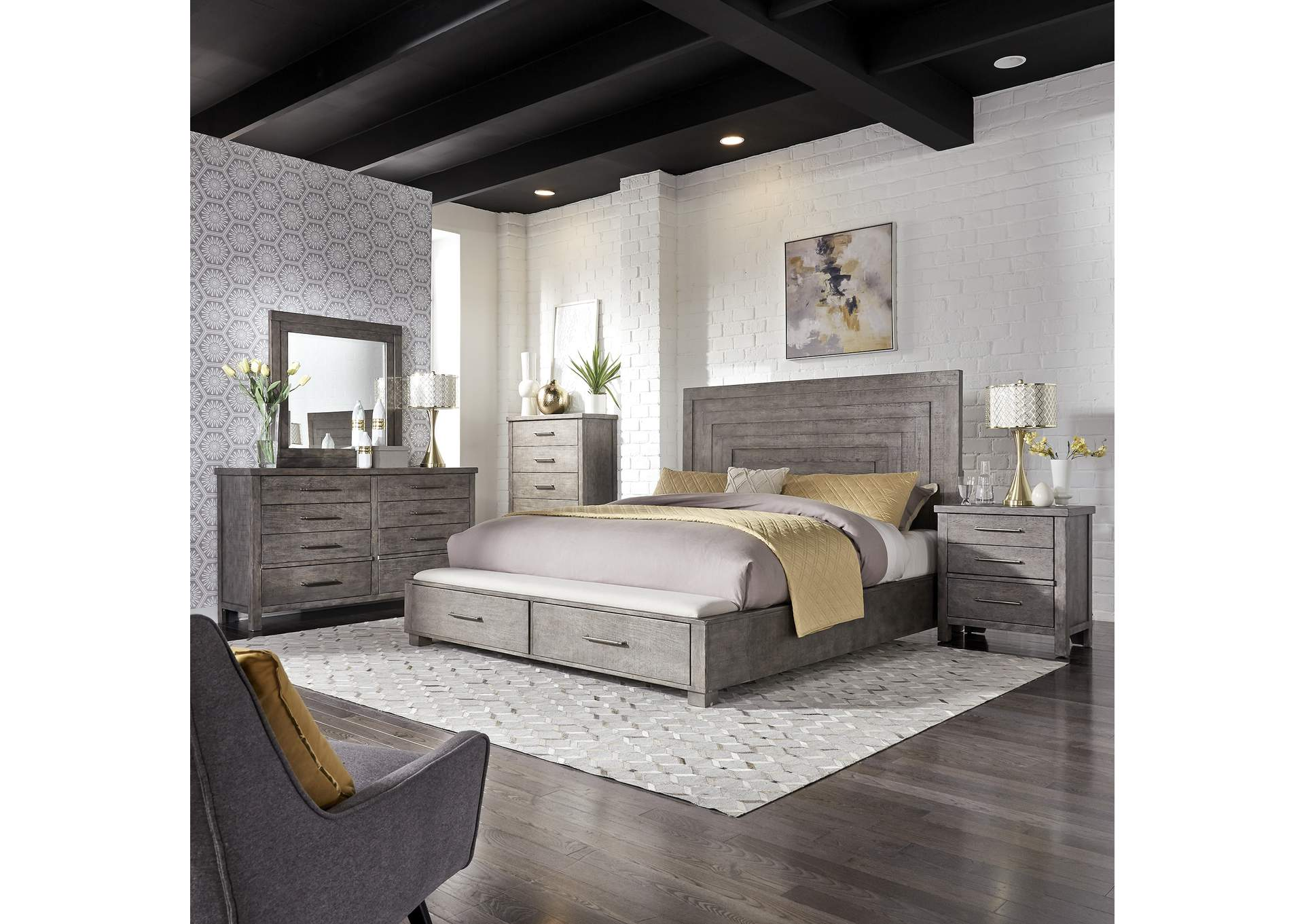Modern Farmhouse Dusty Charcoal Queen Storage Bed Dresser Mirror Chest Night Stand Rhynes Rhodes Furniture
