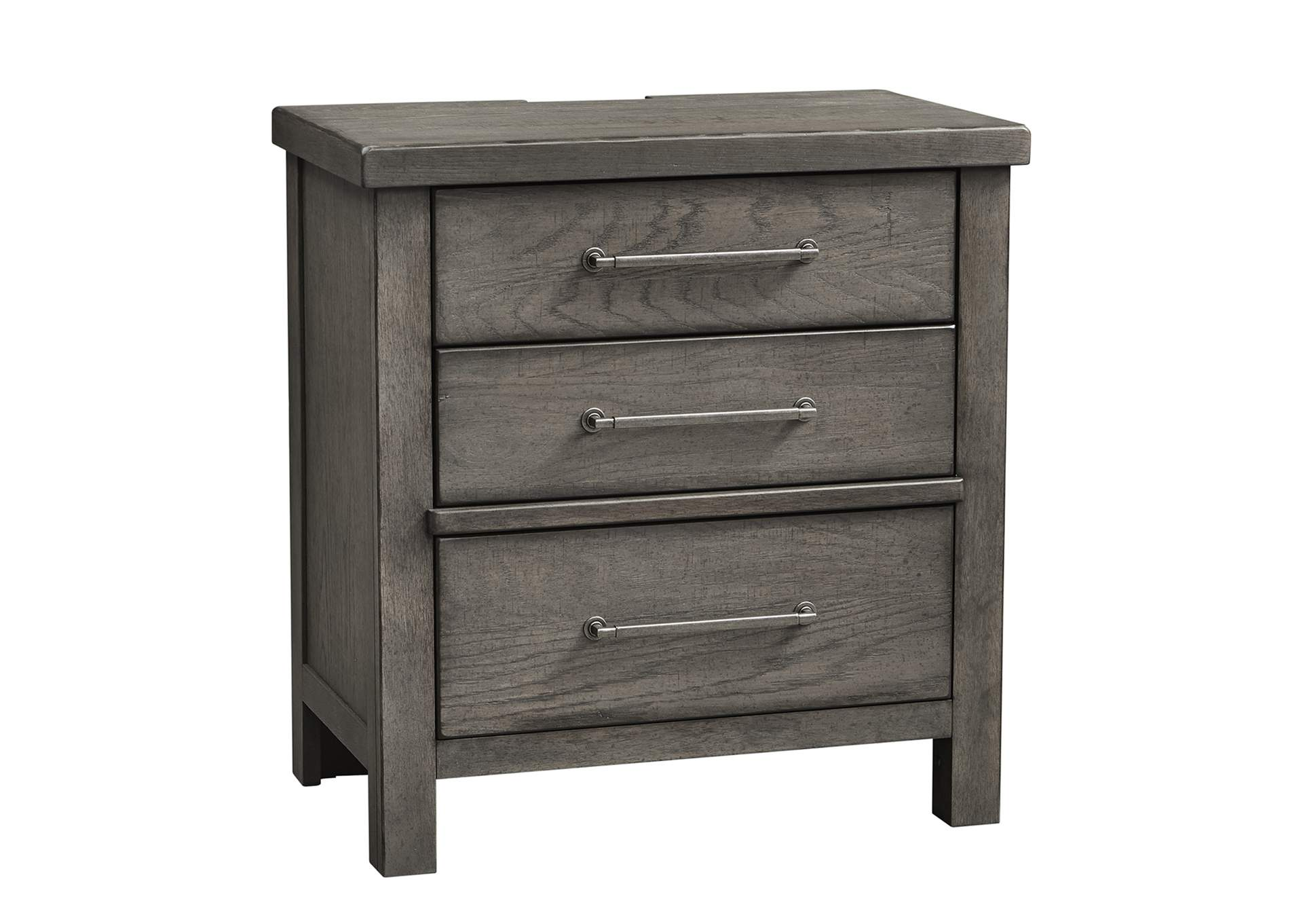 Modern Farmhouse Dusty Charcoal 3 Drawer Night Stand Jesup Furniture Outlet