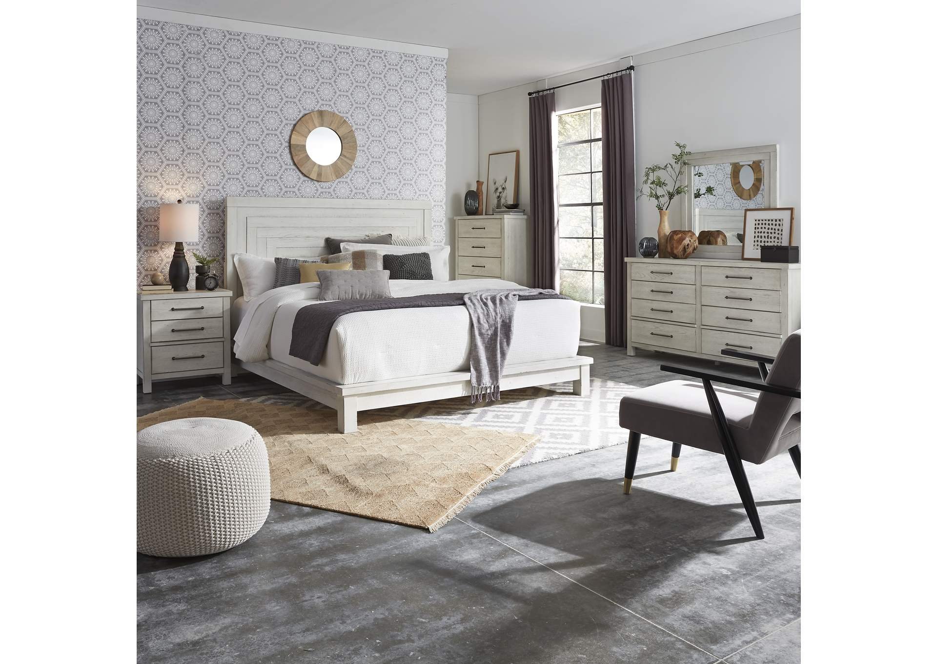 Modern Farmhouse Flea Market White Queen Platform Bed Dresser Mirror Chest Night Stand Rhynes Rhodes Furniture