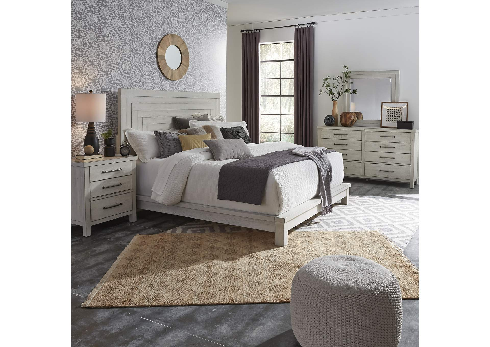 Modern Farmhouse Flea Market White Queen Platform Bed Dresser Mirror Night Stand Jesup Furniture Outlet