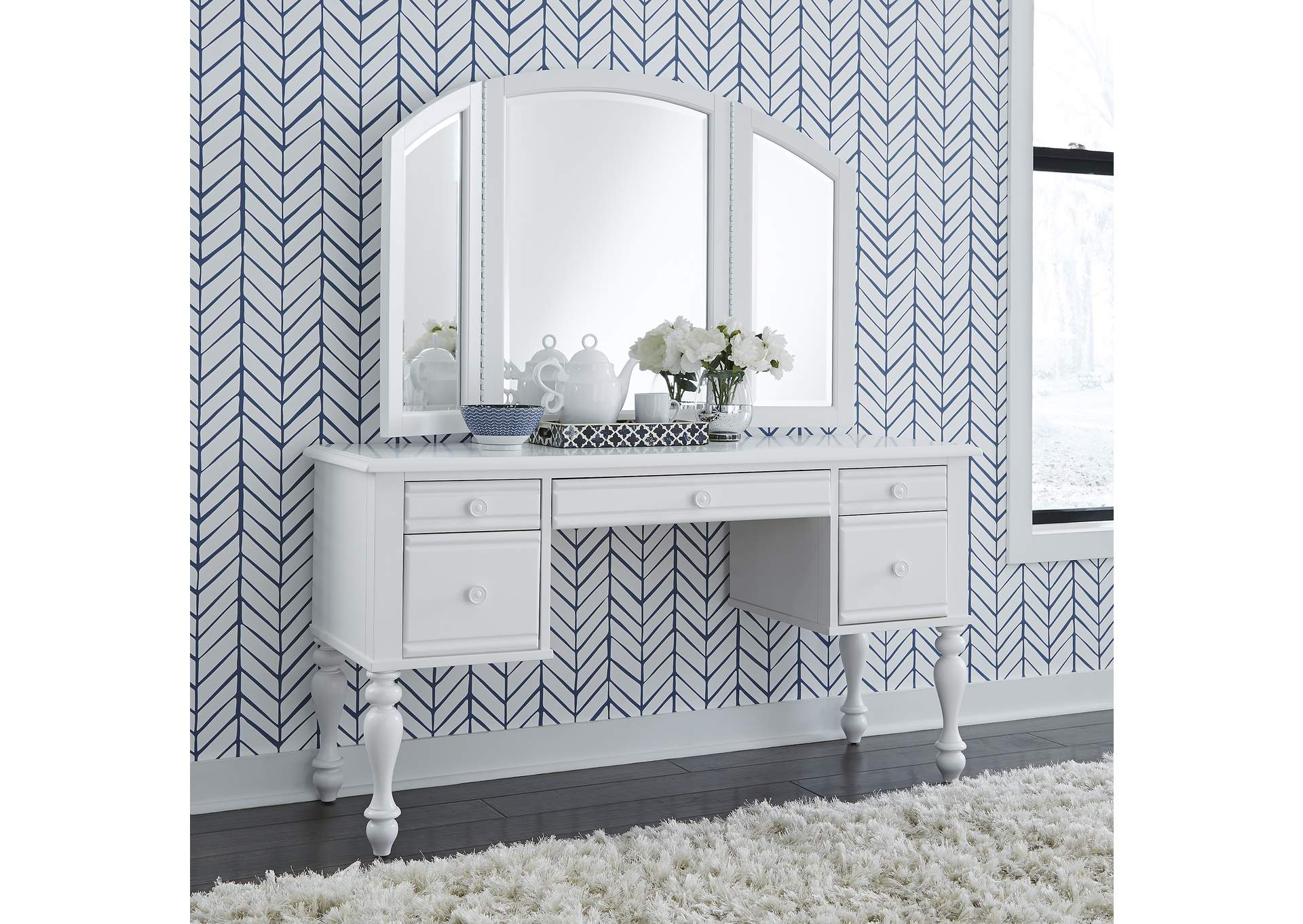 Summer House I White Vanity Desk And Mirror Rhynes Rhodes Furniture