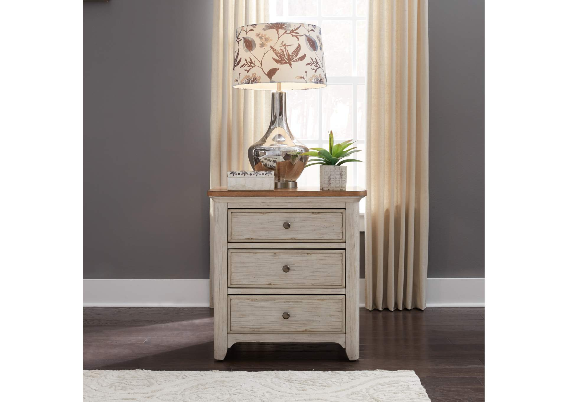 Farmhouse Reimagined Antique White 3 Drawer Night Stand W Charging Station Jesup Furniture Outlet