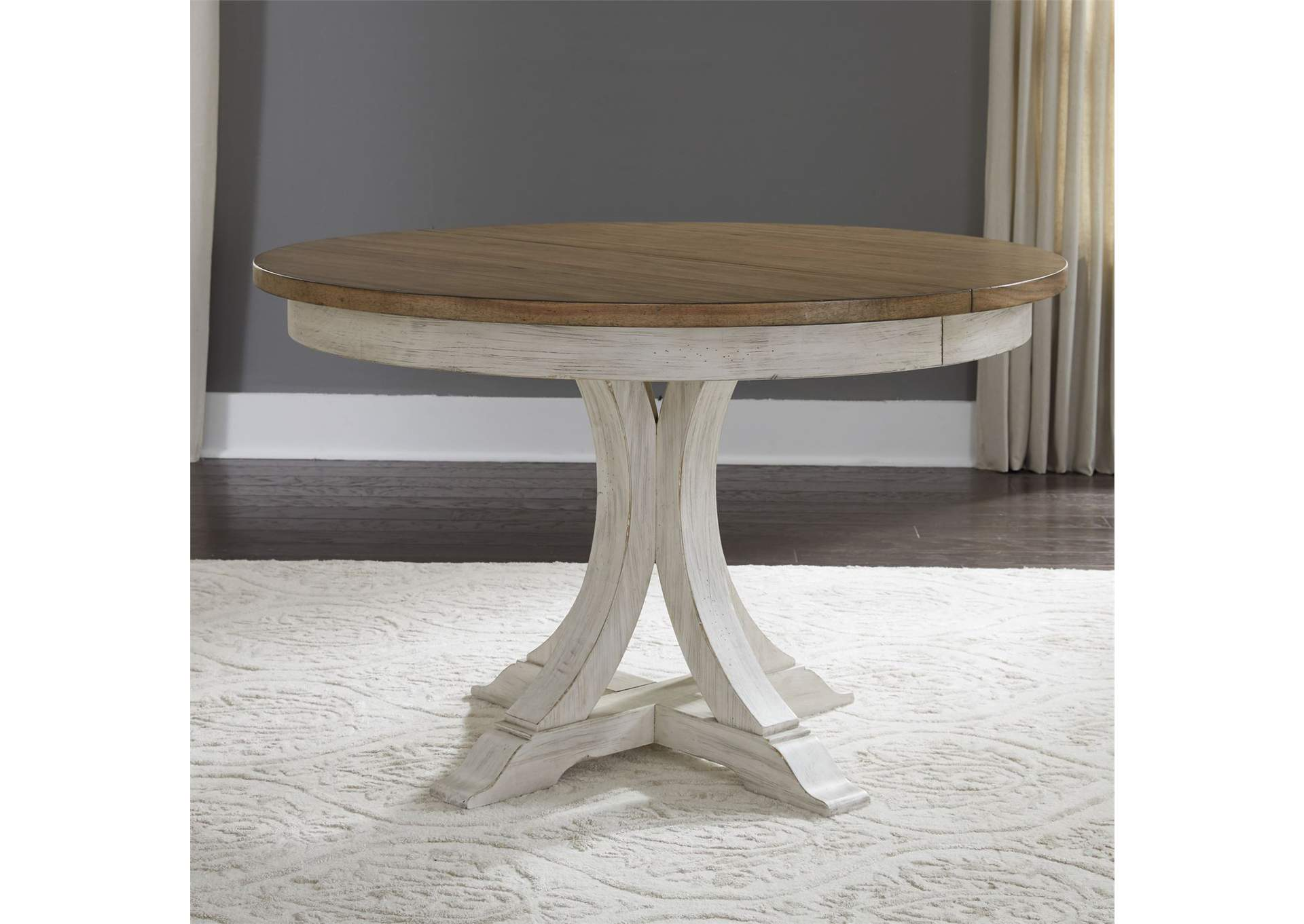 Picture of: Farmhouse Reimagined White Brown Round Extension Leaf Dining Table Country House Furniture