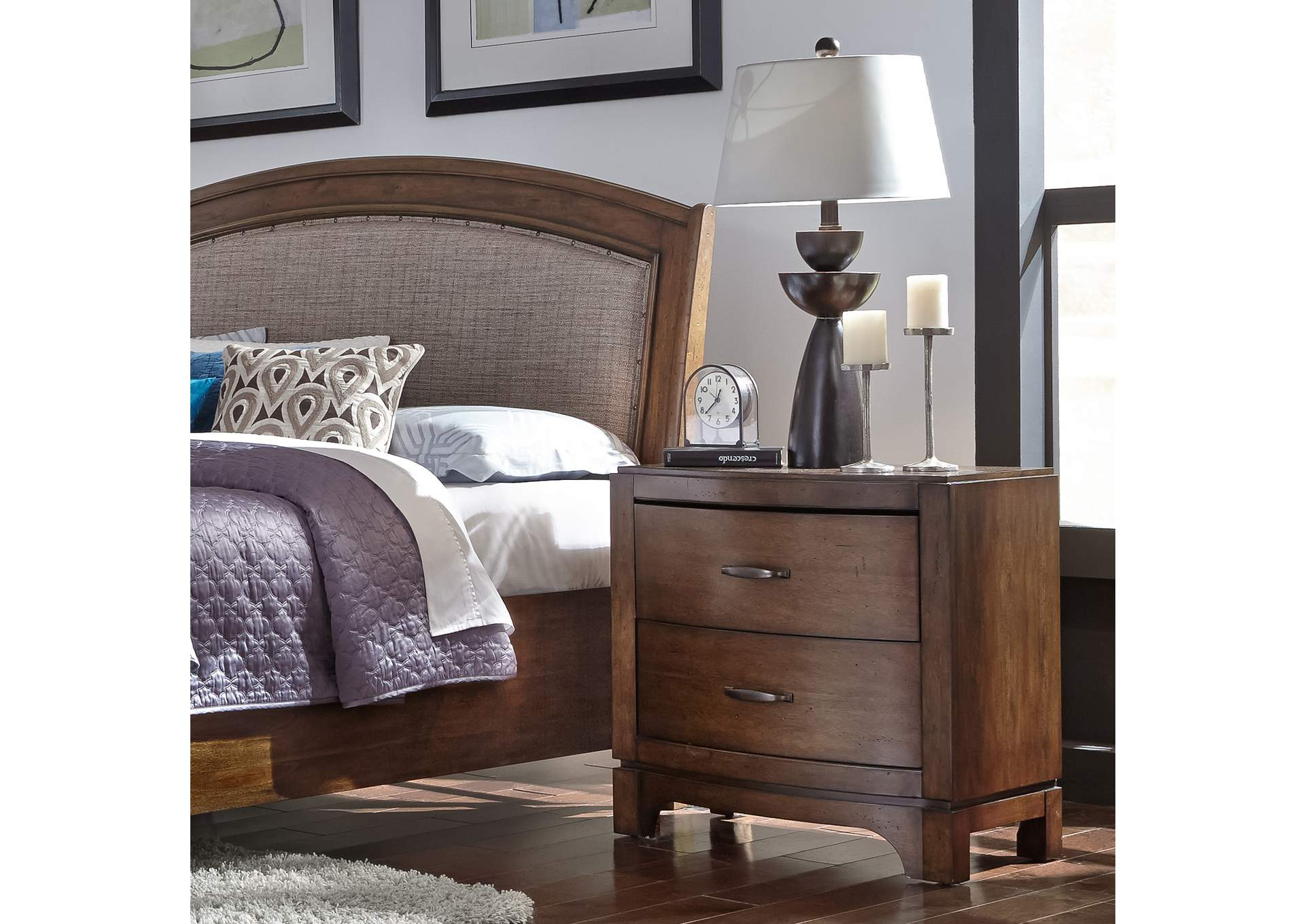Avalon Pebble Brown Night Stand,Liberty