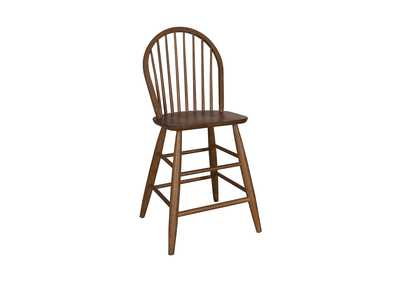 Image for Farmhouse Weathered Oak Windsor Back Counter Chair