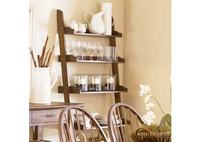 Image for Farmhouse Weathered Oak Leaning Bookcase