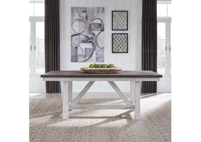 Image for Farmhouse Two Tone White  Fixed Top Trestle Table