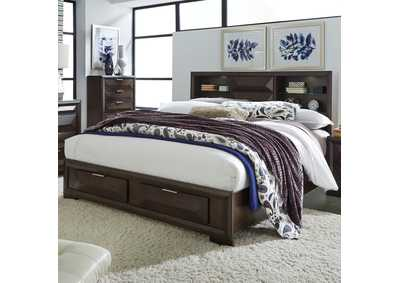 Image for Newland Cappuccino King Storage Bed w/2 Drawers