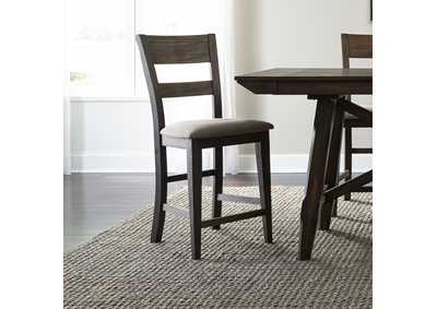 Image for Double Bridge Dark Chestnut Splat Back Counter Chair (RTA)