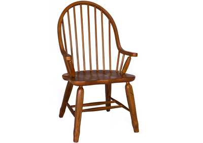Image for Treasures Rustic Oak & Black Bow Back Arm Chair - Oak