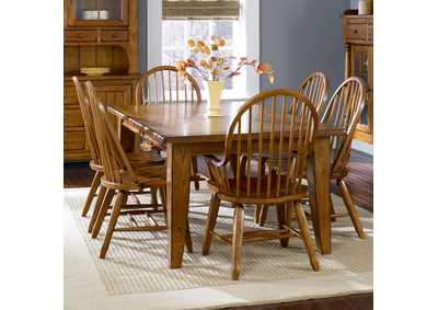 Image for Treasures Oak Rectangular Leg Table w/2 Bow Back Arm Chairs and 4 Bow Back Side Chairs