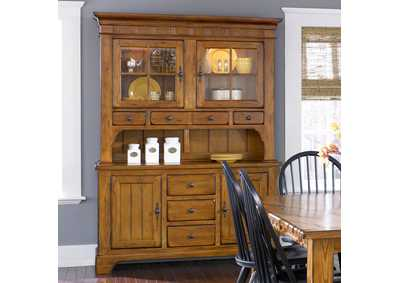 Image for Treasures Rustic Oak & Black Hutch & Buffet