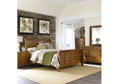 Image for Grandpas Cabin Aged Oak King Sleigh Bed, Dresser & Mirror, Chest, Night Stand