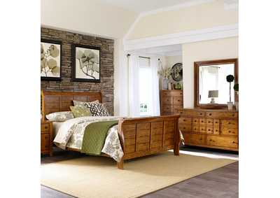 Image for Grandpas Cabin Aged Oak King Sleigh Bed, Dresser & Mirror, Night Stand