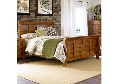 Image for Grandpas Cabin Aged Oak Queen Sleigh Bed