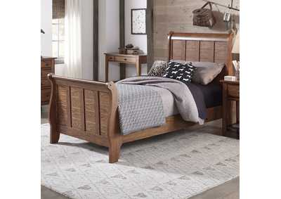 Image for Grandpas Cabin Aged Oak Full Sleigh Bed