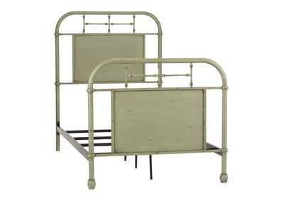 Image for Vintage Series Distressed Metal Twin Metal Bed - Green