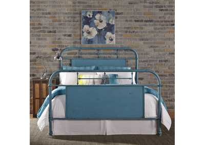 Image for Vintage Series Black Metal King Bed - Blue