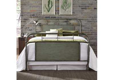 Image for Vintage Series Grey Metal King Bed - Green