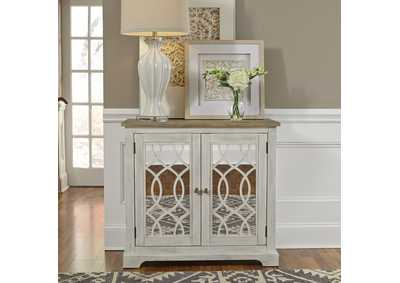 Image for Emory Antique White 2 Door Mirrored Accent Cabinet