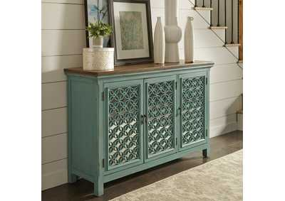 Image for Kensington Turquoise 3 Door Accent Cabinet
