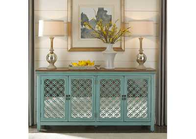 Image for Kensington Turquoise 4 Door Accent Cabinet