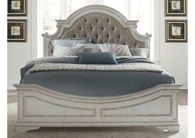 Image for Magnolia Manor Antique White King Upholstered Panel Bed