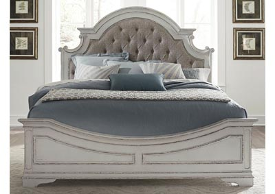 Image for Magnolia Manor Antique White Queen Upholstered Panel Bed