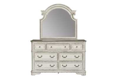 Image for Magnolia Manor Antique White 7 Drawer Dresser and Mirror