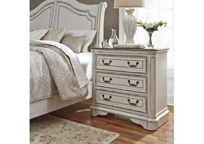 Image for Magnolia Manor Antique White 3 Drawer Bedside Chest w/ Charging Station
