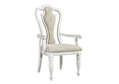 Image for Magnolia Manor Antique White Splat Back Upholstered Arm Chair (RTA)