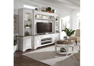 Image for Magnolia Manor Antique White Entertainment Center with Piers