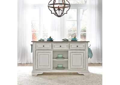 Image for Magnolia Manor Antique White Kitchen Island with Granite