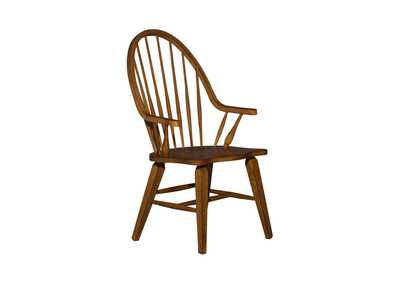 Image for Hearthstone Ridge Tobacco & Black Windsor Back Arm Chair