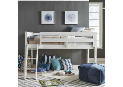 Image for Allyson Park Wirebrushed White Twin Loft Bed Open