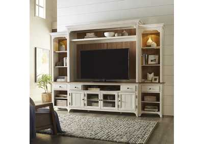 Image for Farmhouse Reimagined Antique White Entertainment Center with Piers