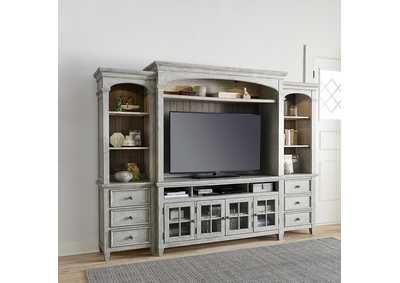 Image for Heartland Antique White Entertainment Center with Piers