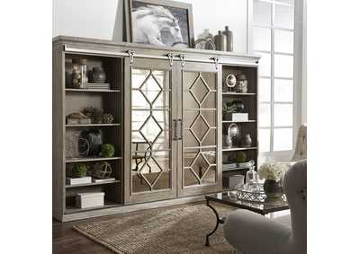 Image for Mirrored Reflections Wire Brushed Heathered Taupe Entertainment Center with Piers