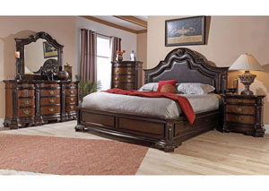 Image for Baleigh Cherry King Upholstered Bed w/ Dresser and Mirror