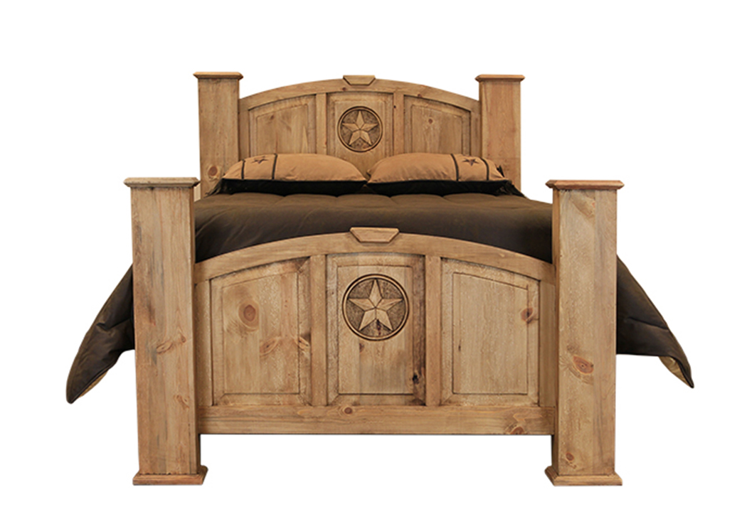 Mansion Queen Poster Bed w/Star,L.M.T. Rustic