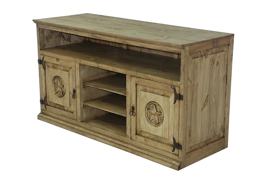 "Pine 60"" Entertainment Centre w/Star,L.M.T. Rustic"