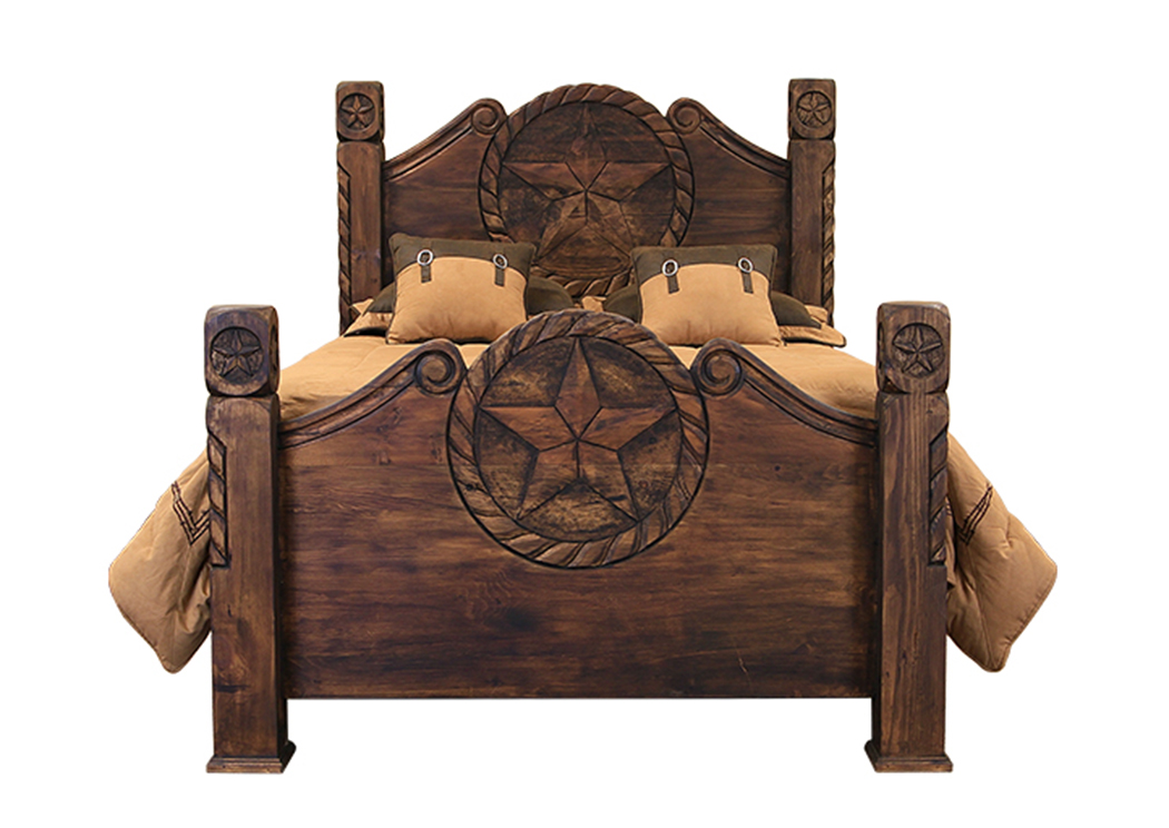 Queen Medio Finish Country Bed w/Rope and Star,L.M.T. Rustic