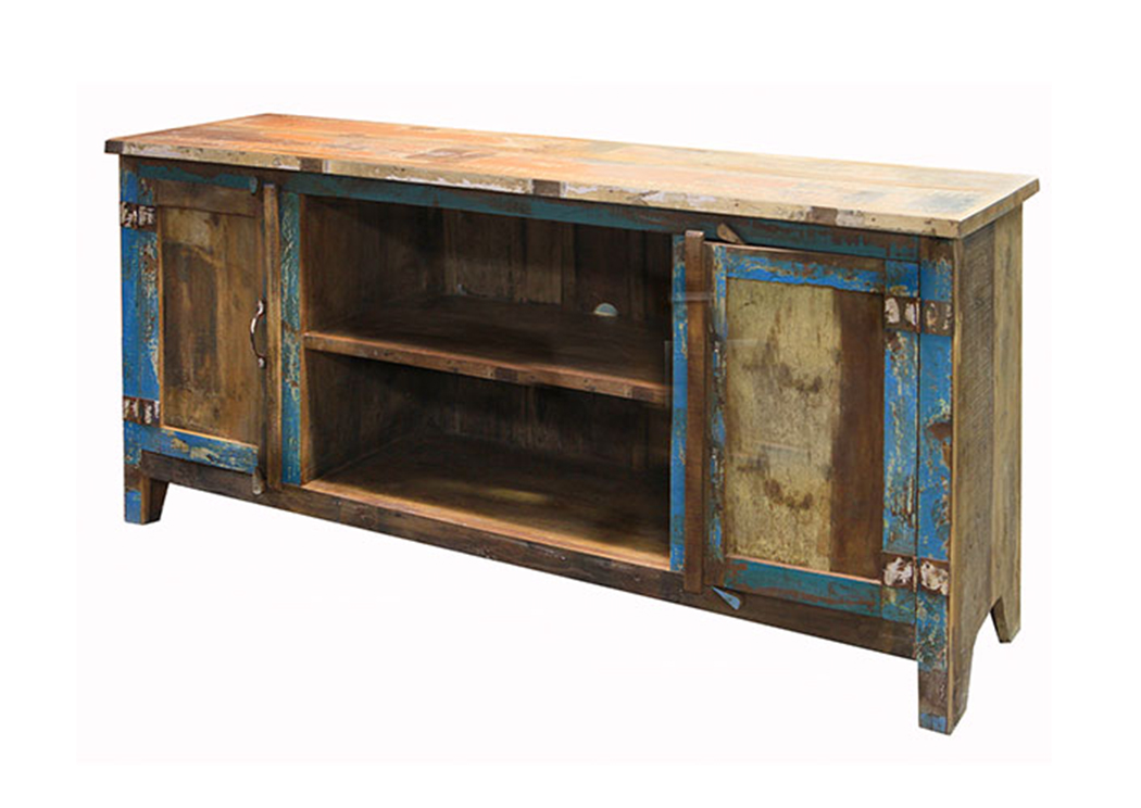 Painted Reclaimed Wood TV Stand,L.M.T. Rustic